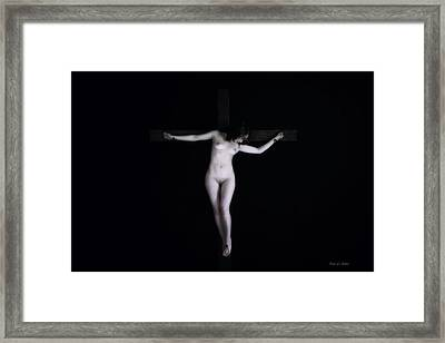 Crucified Woman In Dark Framed Print by Ramon Martinez