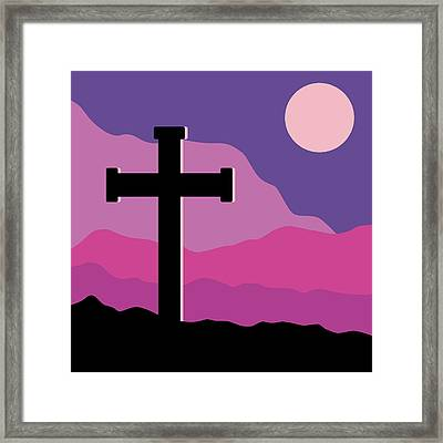 Crucifix And Moon Framed Print by Alain De Maximy