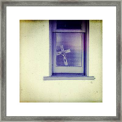 Crucifix In A Window Framed Print by YoPedro
