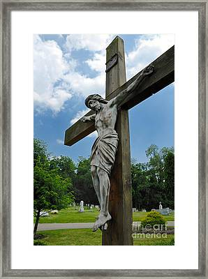 Crucifix Statue St James Cemetery Sewickley Heights Pennsylvania Framed Print by Amy Cicconi