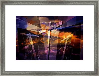 Crucifixion Crosses Composition From Clotheslines Framed Print by Randall Nyhof