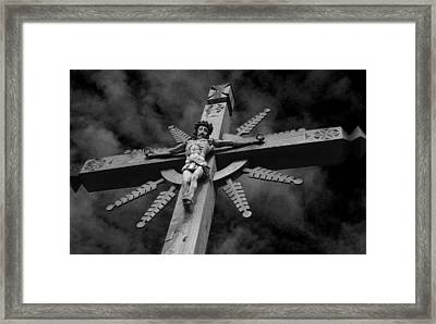 Crucifixion Darkness 2 Framed Print by David T Wilkinson