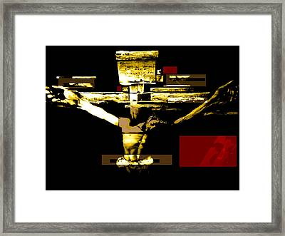 Crucifixion In Red Gold And Black Framed Print