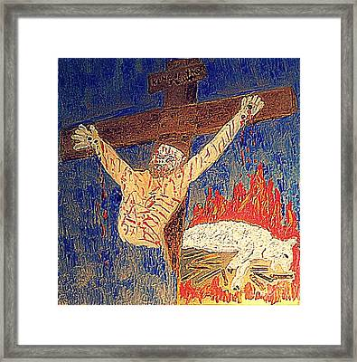 Crucifixion Sacrifice 1 Framed Print by Richard W Linford