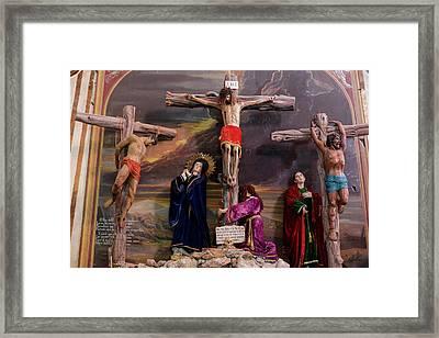 Crucifixion Scene Inside A Church, San Framed Print