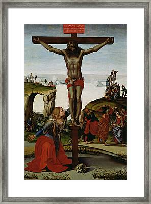 Crucifixion With Mary Magdalene Framed Print by Luca Signorelli
