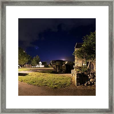 Crucuno Dolmen At Night Framed Print by Laurent Laveder