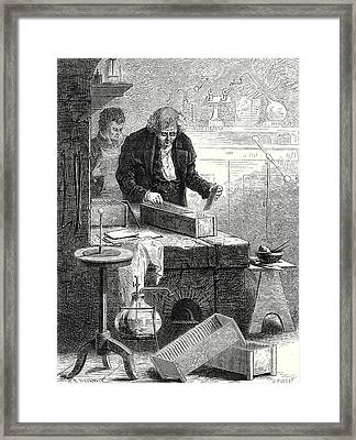 Cruikshank Builds The Battery With Channels Framed Print by English School