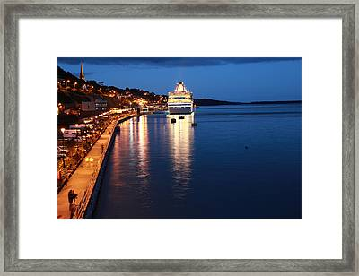 Cruise Liner At Cobh Harbour Framed Print by Maeve O Connell