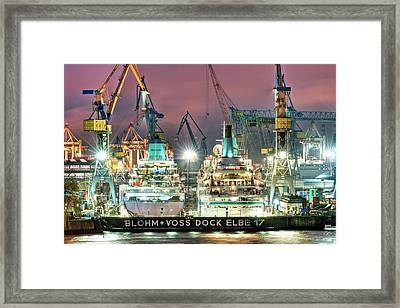 Cruise Liners In A Dry Dock Framed Print by Bildagentur-online/ohde/science Photo Library