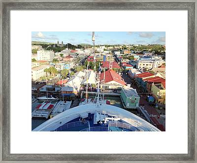 Cruise Ship Berthed Downtown Framed Print