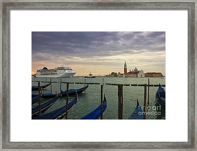 Cruise Ship Entering The Venice Lagoon At Dawn Framed Print by Kiril Stanchev