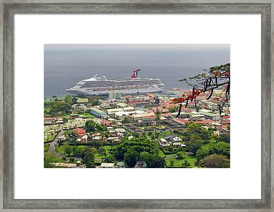 Cruise Ship In Dominica Framed Print