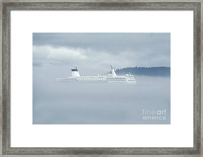 Cruise Ship In Fog Framed Print by Ron Sanford