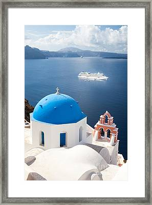 Cruise Ship In Santorini - Greece Framed Print by Matteo Colombo