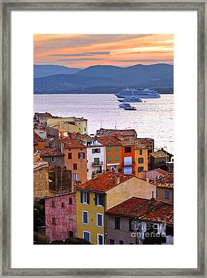 Cruise Ships At St.tropez Framed Print