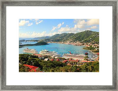 Cruise Ships In St. Thomas Usvi Framed Print
