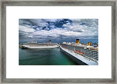 Cruise Ships Port Everglades Florida Framed Print by Amy Cicconi