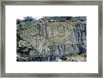 Crumpled Strata Of Metamorphic Rocks Framed Print