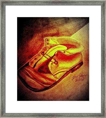 Crushed Baby Shoe Framed Print by Irving Starr