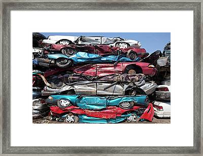 Crushed Cars At Scrapyard Framed Print