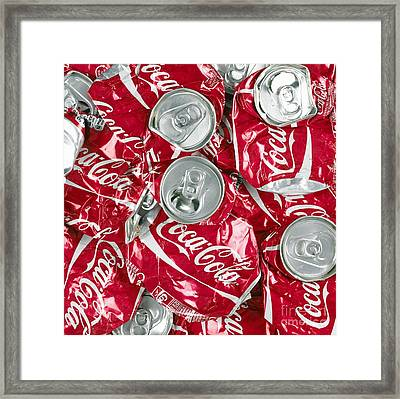 Crushed Coca Cola Framed Print by Mark Sykes