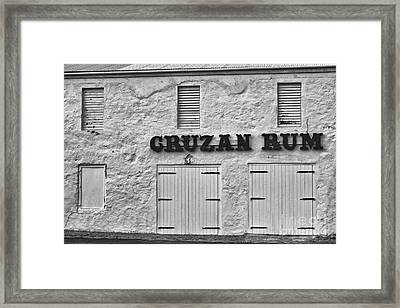 Cruzan Rum Building In Black And White Framed Print