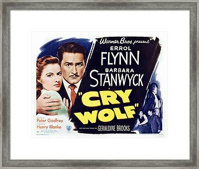 Cry Wolf, Us Lobbycard, From Left Framed Print by Everett