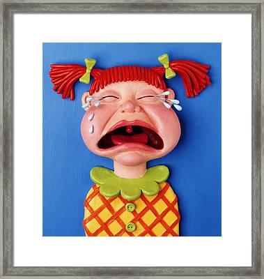 Crying Girl Framed Print by Amy Vangsgard