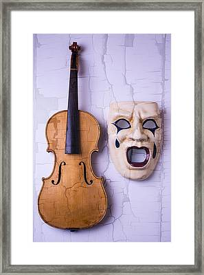Crying Mask With Violin Framed Print