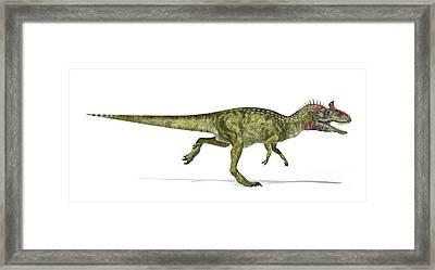 Cryolophosaurus Dinosaur On White Framed Print by Leonello Calvetti