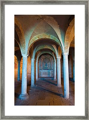Crypt Of San Pietro Church, Tuscania Framed Print by Nico Tondini
