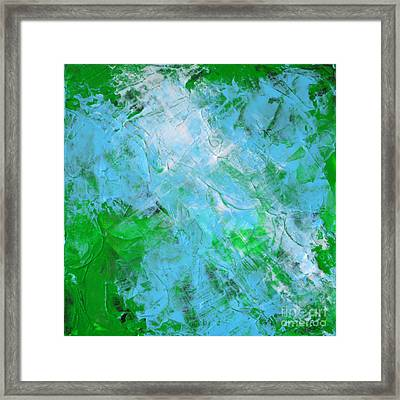 Crystal Cave - Green Pale Blue Abstract By Chakramoon Framed Print by Belinda Capol