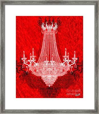 Crystal Chandelier On Red Framed Print by Jon Neidert