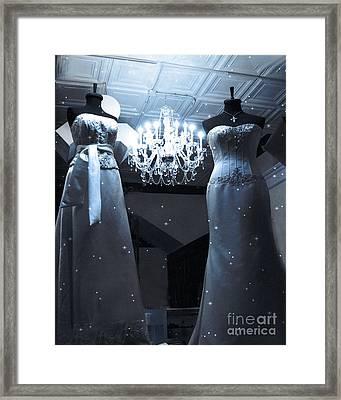 Crystal Chandelier Opulence - Elegant Paris Fashion Couture Starry Night Chandelier Illumination Framed Print
