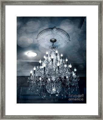 Crystal Chandelier Photo - Sparkling Twinkling Lights Elegant Romantic Blue Chandelier Photograph Framed Print by Kathy Fornal