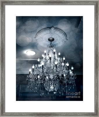 Crystal Chandelier Photo - Sparkling Twinkling Lights Elegant Romantic Blue Chandelier Photograph Framed Print by Kathy Fornal