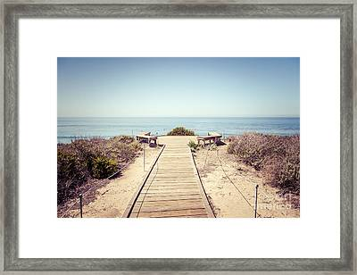 Crystal Cove Overlook Retro Picture Framed Print by Paul Velgos