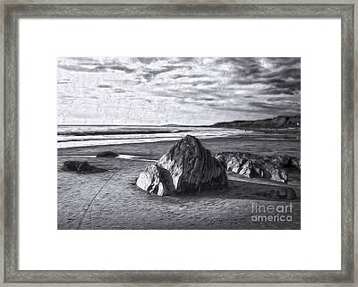 Framed Print featuring the painting Crystal Cove Sea Shore - Black And White by Gregory Dyer
