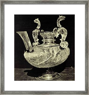 Crystal Decanter Engraved With Animal Handles Framed Print by Artokoloro