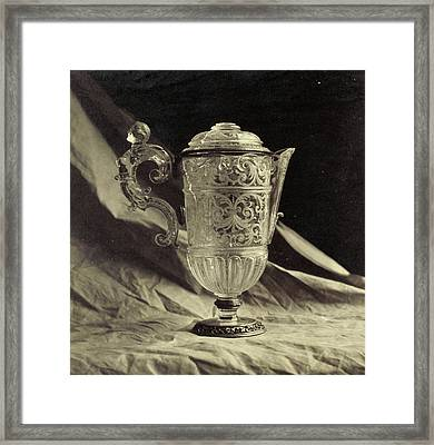 Crystal Decanter Engraved With Feminine Handle Framed Print by Artokoloro