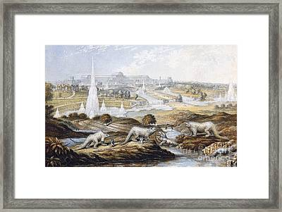 Crystal Palace Dinosaurs By Baxter, 1854 Framed Print