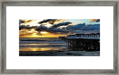 Crystal Pier Sunset Pb Framed Print by Russ Harris