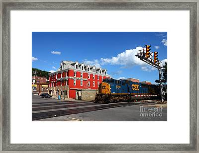 Csx Diesel Train At Cumberland Framed Print