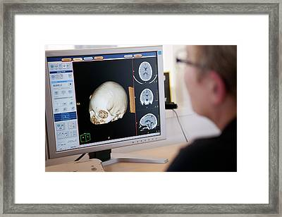 Ct Scanning Control Room Framed Print by Thomas Fredberg