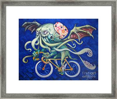 Cthulhu On A Bicycle Framed Print by Ellen Marcus