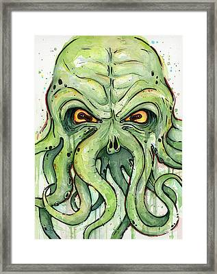 Cthulhu Watercolor Framed Print by Olga Shvartsur
