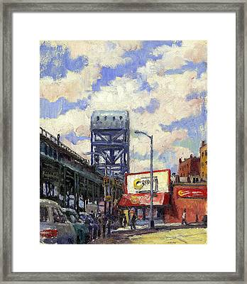 Ctown And The Broadway Bridge The Bronx Framed Print