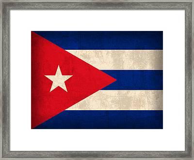 Cuba Flag Vintage Distressed Finish Framed Print