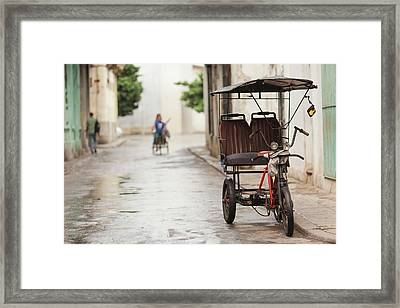 Cuba, Havana, Havana Vieja, Pedal Taxi Framed Print by Walter Bibikow
